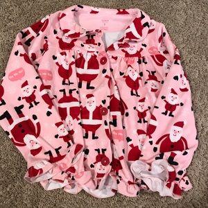 Carter's Pajamas - CARTERS pink santa claus button down jammies